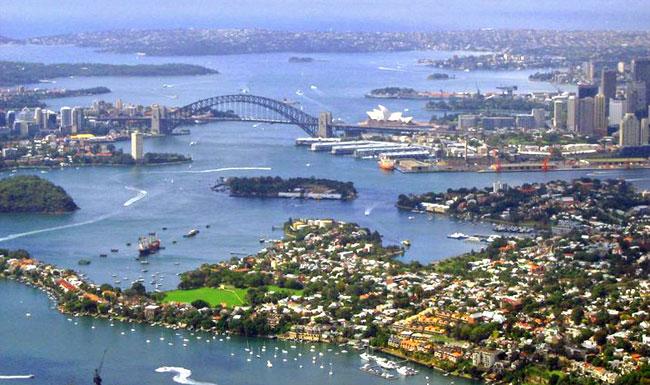 Aerial photograph of Sydney Harbour, Accessible tour of Sydney Harbour